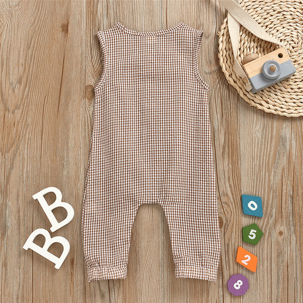 Baby Unisex Plaid Button Decor Sleeveless Romper Baby Wholesale Suppliers