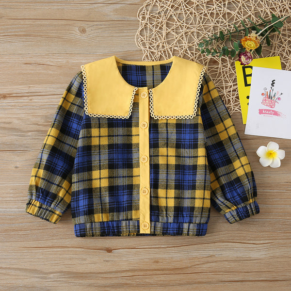Girls Plaid Button Doll Collar Long Sleeve Jacket Toddler Girl Boutique Clothing Wholesale