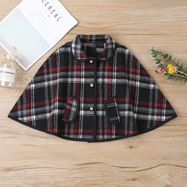 Girls Plaid Button Lapel Casual Jacket Children's Wholesale Boutique Clothing
