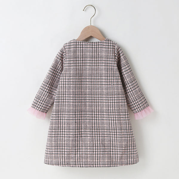 Girls Plaid Button Long Sleeve Dress Girls Clothing Wholesale