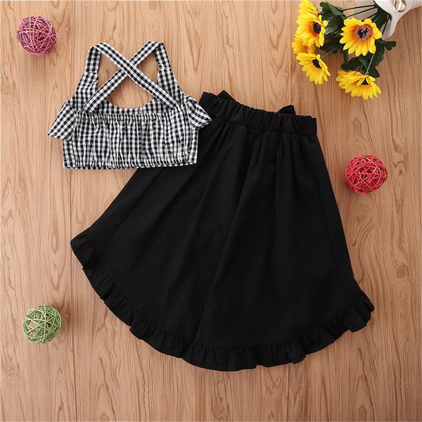 Girls Plaid Button White-Black Sling Top & Solid Skirt Children Clothes Wholesale