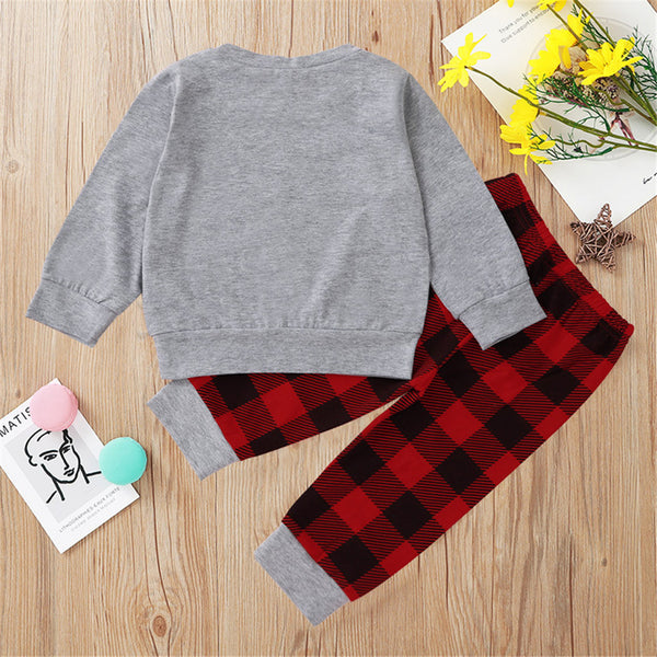 Toddler Boys Plaid Car Long Sleeve Top & Pants Boys Wholesale Clothing
