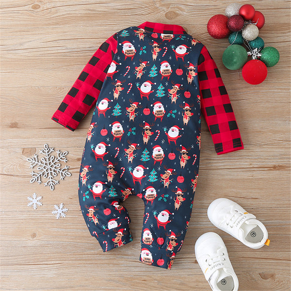 Baby Plaid Cartoon Long Sleeve Romper Christmas Baby Clothes