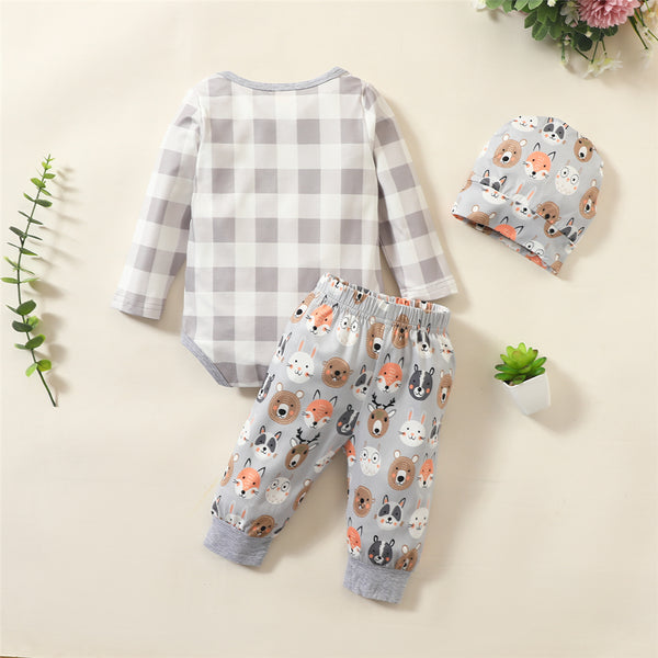 Baby Boys Plaid Cartoon Long Sleeve Romper & Pants & Hat Wholesale