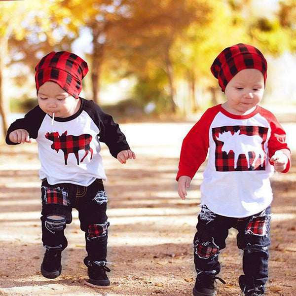 Toddler Boys Plaid Cartoon Top & Ripped Jeans Boy Clothes Wholesale