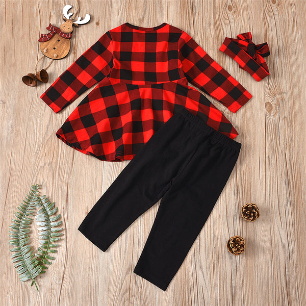 Girls Plaid Casual Long Sleeve Top & Leggings & Headband Girls Wholesale