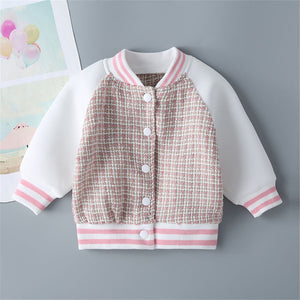 Girls Plaid Color Contrast Button Long Sleeve Coat