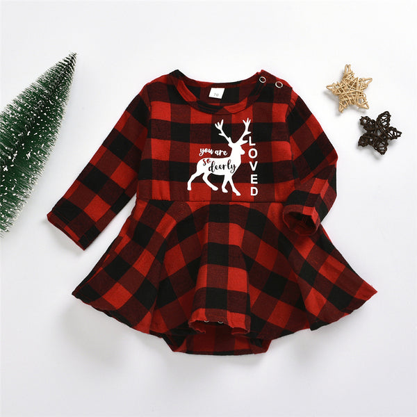 Baby Girls Plaid Deer Letter Printed Long Sleeve Dress Baby Wholesale Suppliers