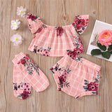 Baby Girls Plaid Floral Printed Short Sleeve Top & Shorts & Socks Baby Boutique Wholesale