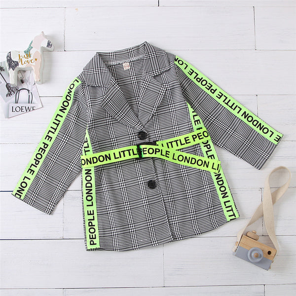 Girls Plaid Fluorescent Letters Ribbon Belt Long Sleeve Coat Girl Wholesale
