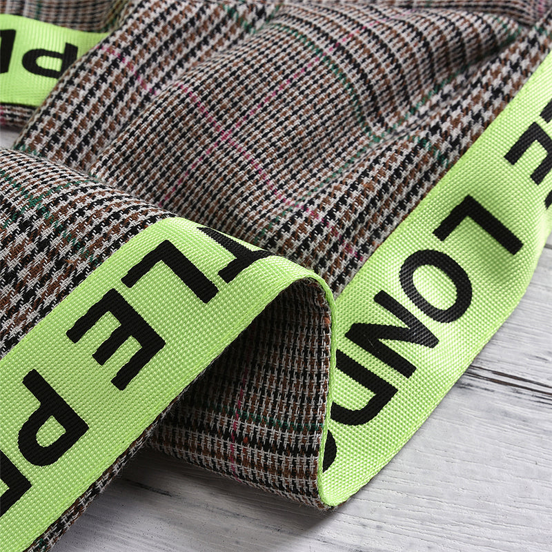 Girls Plaid Fluorescent Letters Ribbon Coats Wholesale
