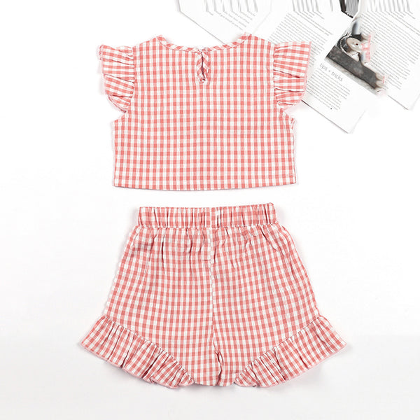 Girls Plaid Flying Sleeve Bow Decor Top & Shorts trendy kids wholesale clothing