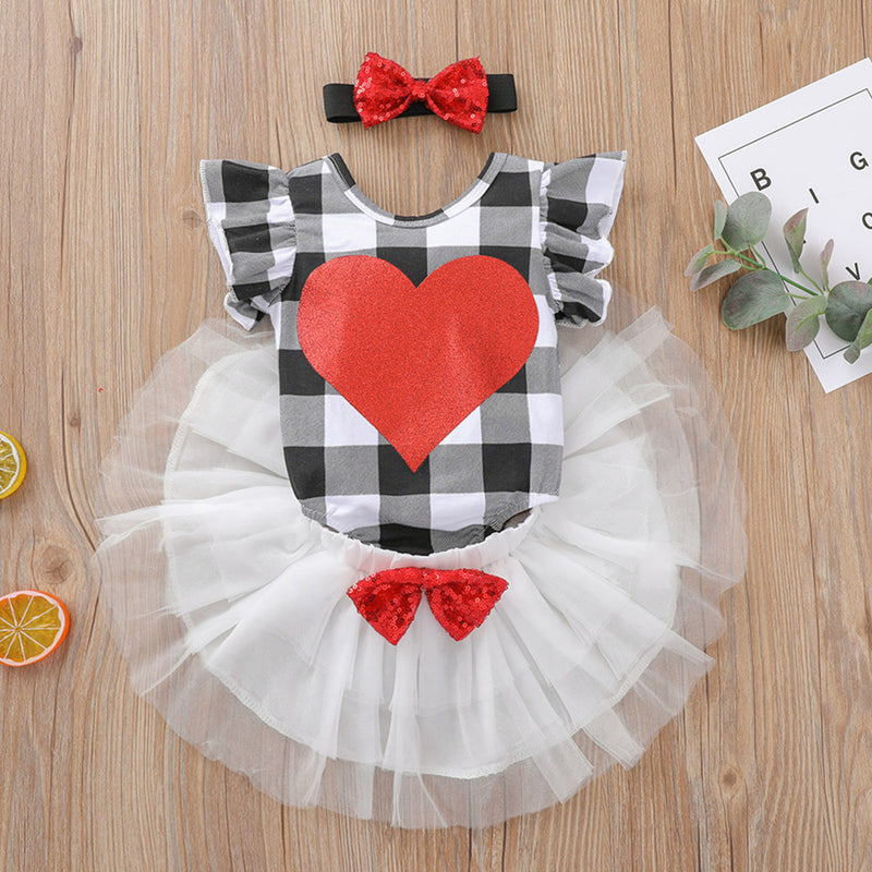 Baby Girls Plaid Heart Short Sleeve Romper & Tutu & Headband Buy Baby Clothes Wholesale