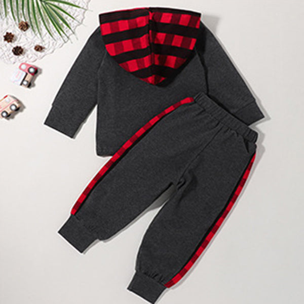 Baby Boys Plaid Hooded Long Sleeve Top & Pants Wholesale Clothing Baby