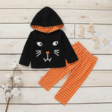 Girls Plaid Kitty Long Sleeve Hooded Jumper & Trousers