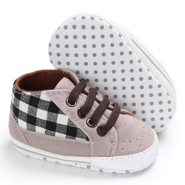 Baby Boys Plaid Lace-up Stylish Sneakers Baby Boy Shoes Wholesale
