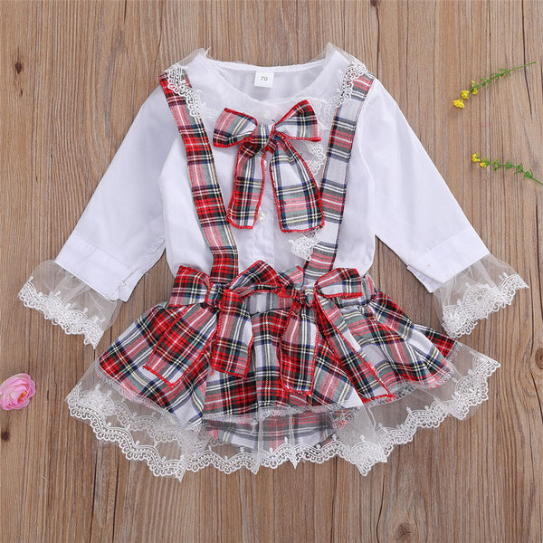 Baby Girls Plaid Lace Long Sleeve Top & Skirt Baby Boutique Wholesale