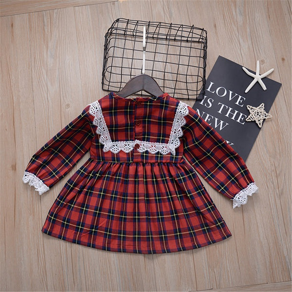 Baby Girls Plaid Lace Long Sleeve Wholesale Baby Dresses