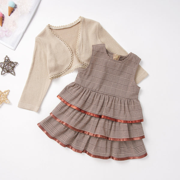 Toddler Girls Plaid Layered Dress & Shawl Girl Dress Wholesale