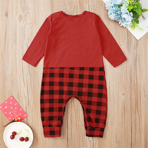 Baby Girls Plaid Letter Printed Cartoon Romper Christmas Baby Clothes