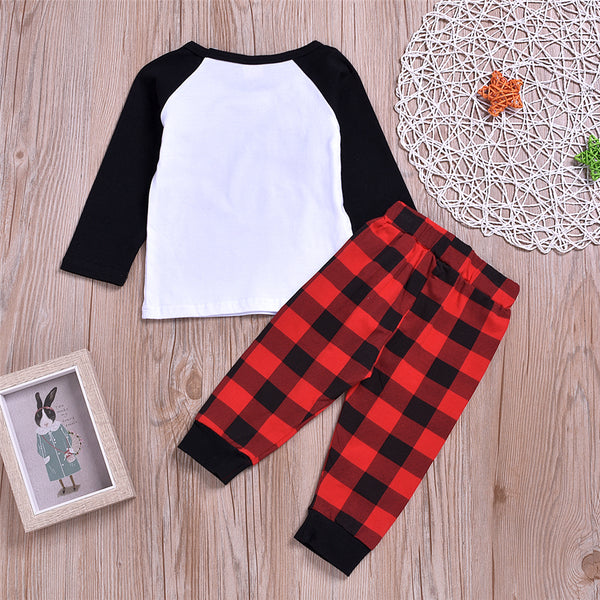 Baby Boys Plaid Letter Printed Top & Pants Baby Clothes Wholesale Bulk