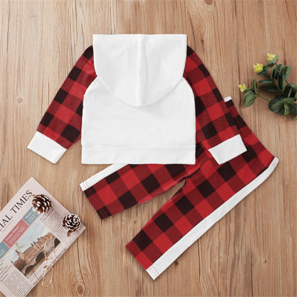 Baby Boys Plaid Lettter Hooded Long Sleeve Top & Pants Wholesale Baby