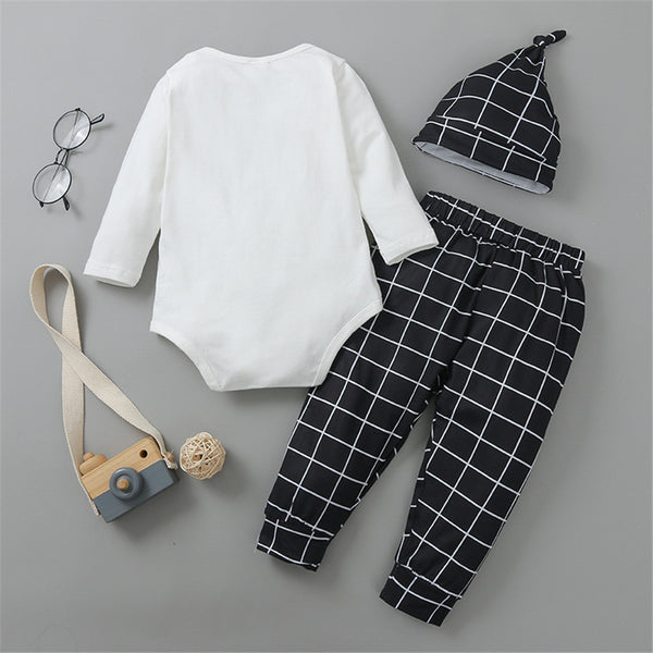 Baby Boys Plaid Lettter Romper & Pants & Hat Wholesale Baby Outfits