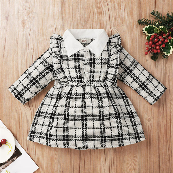 Baby Girls Plaid Long Sleeve Button Dress Baby Clothes Wholesale Suppliers