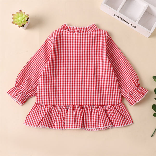 Girls Plaid Long Sleeve Button Fashion Blouse Wholesale Little Girls Clothes