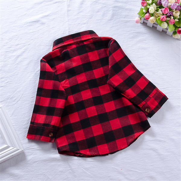 Unisex Plaid Long Sleeve Button Jacket Wholesale Childrens Clothing