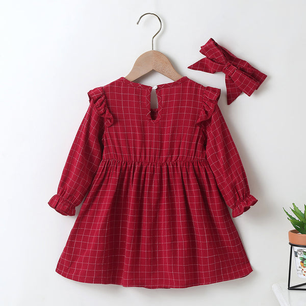 Baby Girls Plaid Long Sleeve Casual Dress & Headband Wholesale Baby Outfits