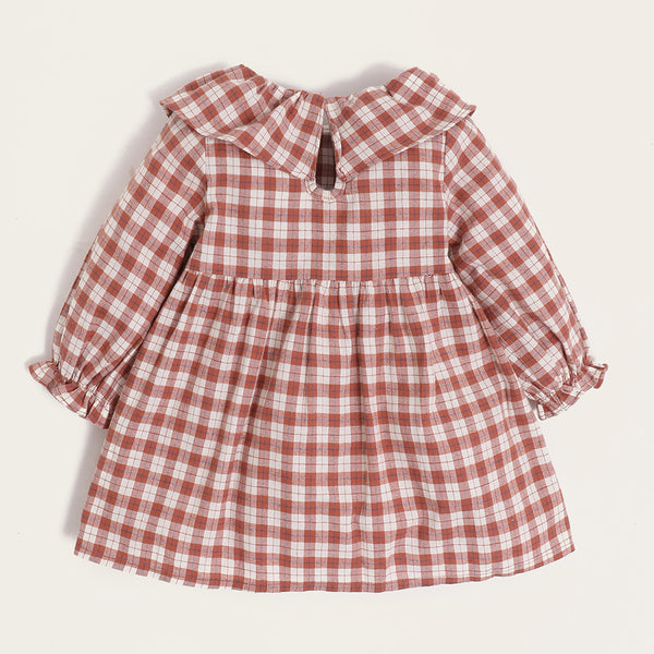 Baby Girls Plaid Long Sleeve Cotton Casual Dress Baby Clothes Vendors
