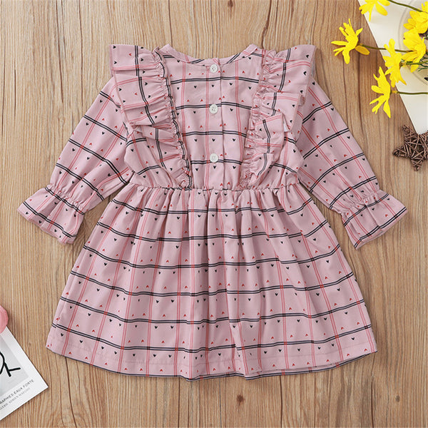 Baby Girls Plaid Long Sleeve Dress Babywear Wholesale