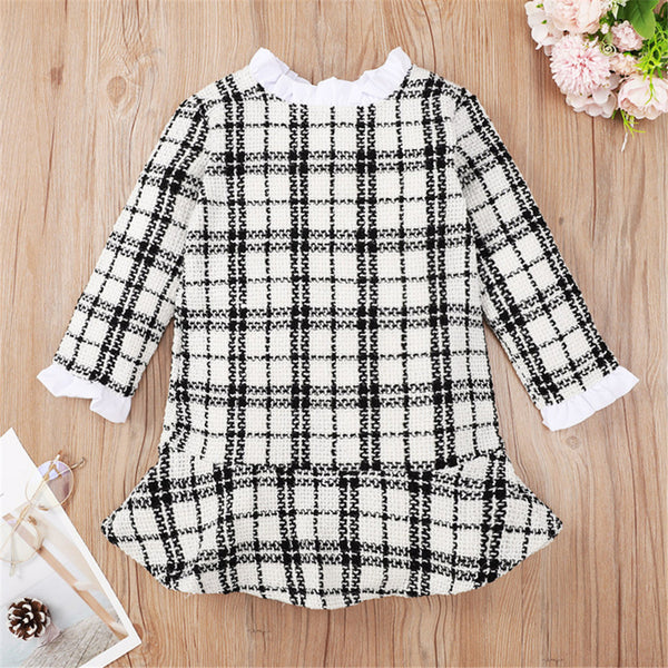Baby Girls Plaid Long Sleeve Dress Wholesale Designer Baby Clothes