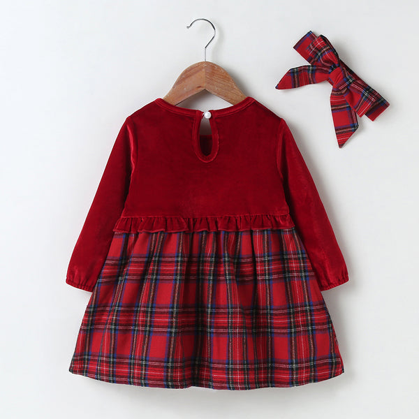 Baby Girls Plaid Long Sleeve Dress & Headband Baby Clothing Wholesale