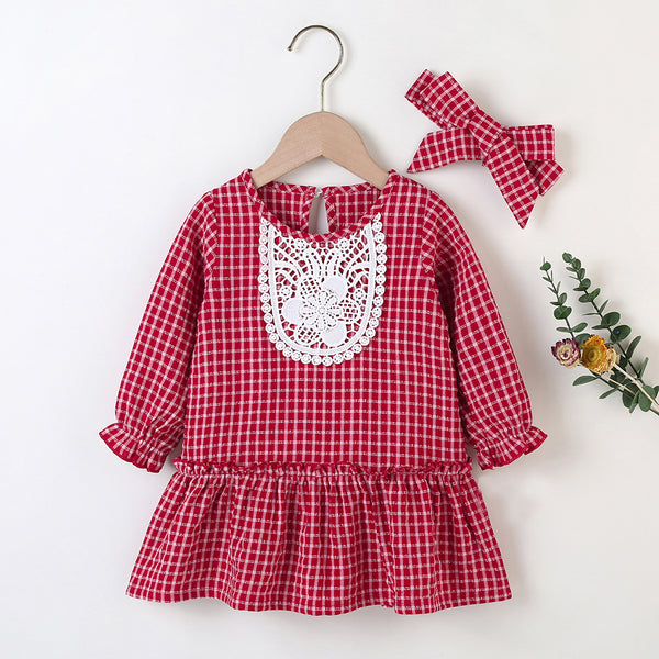 Baby Girls Plaid Long Sleeve Elegant Dress & Headband Cheap Baby Clothes In Bulk