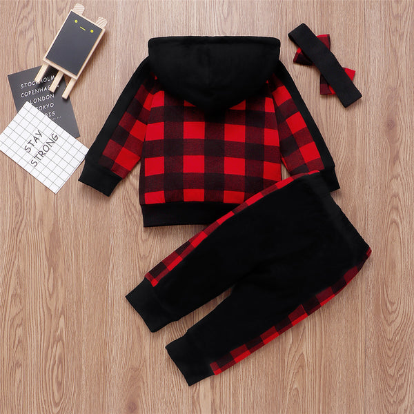 Toddler Girls Plaid Long Sleeve Hooded Jacket & Pants Wholesale Outfits