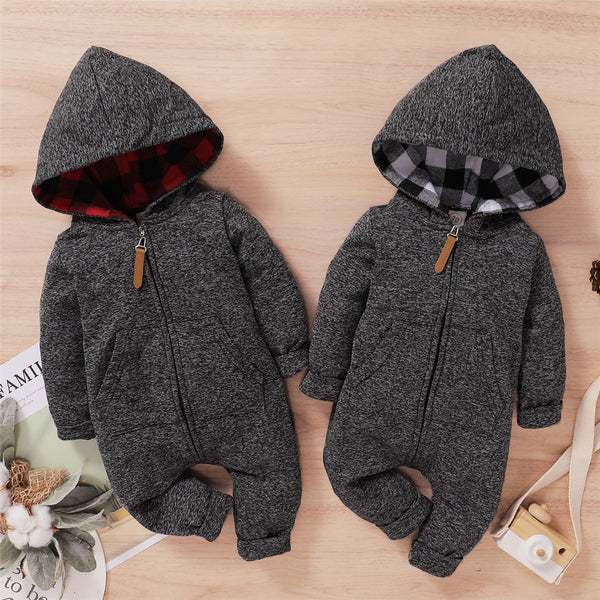 Baby Boys Plaid Long Sleeve Hoodie Zipper Romper Baby Clothes Warehouse