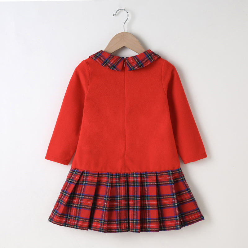 Girls Plaid Long Sleeve Lapel Dress Wholesale Girl Boutique Clothing