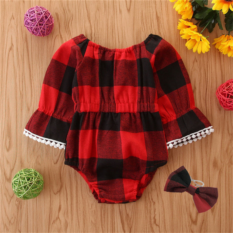 Baby Girls Plaid Bow Long Sleeve Rompers Babywear Wholesale