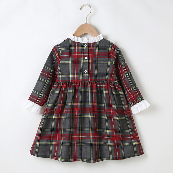 Girls Plaid Long Sleeve Ruffled Dress Wholesale Toddler Clothes