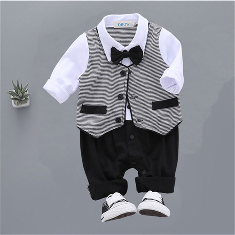 Baby Boys Plaid Long Sleeve Tie Rompers