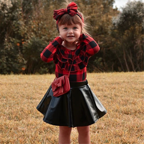 Girls Plaid Long Sleeve Top & PU Skirt & Headband Toddler Girls Wholesale