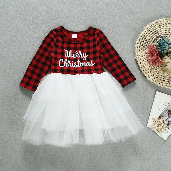 Baby Girls Plaid Long Sleeve Tulle Dress Cheap Baby Clothes Wholesalers