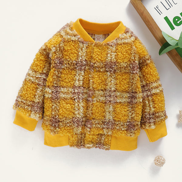 Baby Girls Plaid Long Sleeve Warm Winter Coat Wholesale Clothing Baby