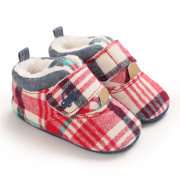 Baby Unisex Plaid Magic Tape Car Warm Shoes Baby Boy Winter Shoes