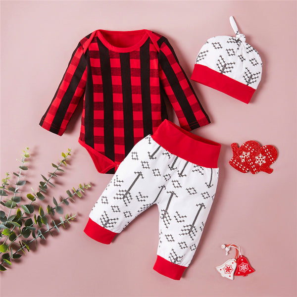 Baby Boys Plaid Printed Romper & Pants & Hat Wholesale Baby Outfits