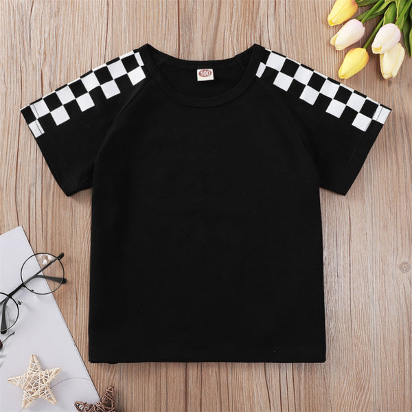 Unisex Plaid Short Sleeve Crew Neck T-shirts children's wholesale boutique clothing