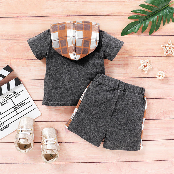 Baby Boys Plaid Short Sleeve Hooded Top & Shorts Baby Clothes Wholesale Suppliers