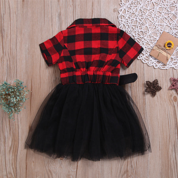 Girls Plaid Short Sleeve Lapel Tulle Dress Bulk Kids Clothing